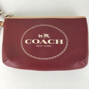 Coach Crimson Horse & Carriage Leather Wristlet